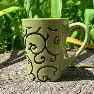 'GREEN LEAF SWIRL DESIGN' mug - 5 dollar mugs (5dms) ($5 mugs)
