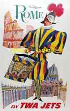 """TWA  Airlines ( ROME ) 11"""" x 17"""" Collector's Travel Poster Print - B2G1F -"""