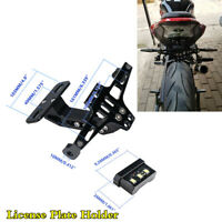 Motorcycle License Plate Holder LED Tail Rear Brake Bracket Mount Light Lamp