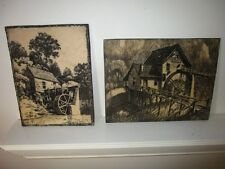 2 large vintage Gristmill Scrimshaw Engraved Plaques detailed art Sculptures