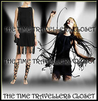 Topshop Kate Moss Roaring 1920s Black Tassel Fringe Dress Gatsby Flapper UK 6