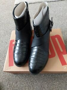 Stunning Fitflop Helmi Ankle Boots Midnight Black Size Uk 3 New & Boxed.