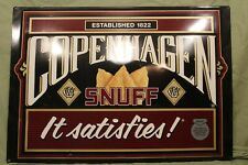 "Vintage Copenhagen Snuff ""it Satisfies"" Metal Sign, 16"" X 23"""