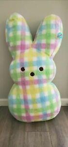 Jumbo Peeps Plush Easter Bunny - Super Soft Plaid Pastel color