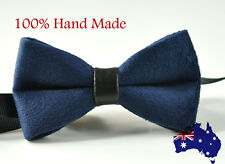 b2e90fff5491 Unisex Men Fashion Velvet Navy Blue Bow Tie Bowtie Craft Wedding Party Ball