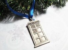 Police Box Christmas Ornament, simple grey inspired by Doctor Who and the TARDIS