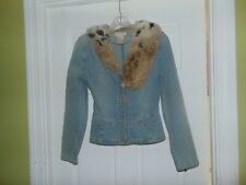 Baby Phat Size S Fit Jean Jacket Faux Fur Collar Stretch