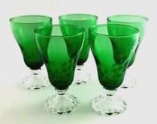 Anchor Hocking Set Of Five Six Ounce Tumblers Forest Green Etched Leaf 1950's