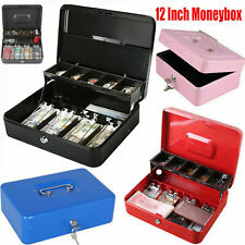 "6-12""Cash Box Money Bank Deposit Steel Tin Security Safe Petty Cash Key Lockable"