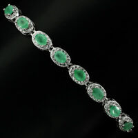 Unheated Oval Emerald 4x3mm Cz 14K White Gold Plate 925 Sterling Silver Bracelet
