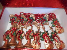 12 PLASTIC LARGE RED GOLD & GREEN MUSICAL INSTRUMENTS CHRISTMAS TREE ORNAMENTS