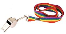 Metal Whistle Rainbow Cord Lanyard Gay Pride Rave Party Carnival LGBT Festival