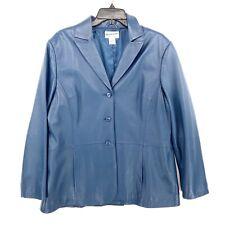 Pendleton Blazer Jacket M Three Button Closure 100% Leather Blue