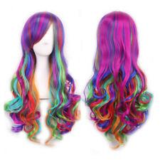 Women Rainbow Long Curly Wavy Hair Full Wig Costume Fancy Dress Lolita Party Wig