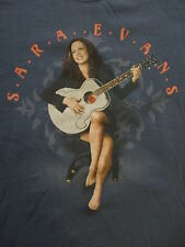 SARA EVANS CONCERT T SHIRT Country Born To Fly Guitar 2-Sided Tour Cities MED