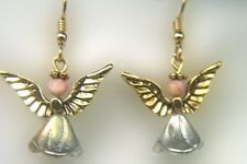 Gold Angel Earrings with Rhodochrosite