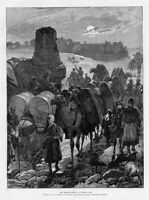 CAMELS GREAT HIGHWAY OF CENTRAL ASIA 1885 ANTIQUE ENGRAVING DONKEY CAMEL