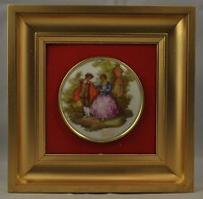 Limoges framed plaque with romantic scene cameo, with box