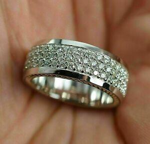 Men's 14K White Gold 0.75 Ct Round Moissanite Pave Wedding Engagement Band Ring