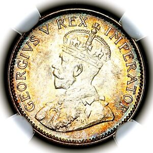 1936 George V South Africa Silver Threepence Three Pence 3P KM 15.2 NGC MS64