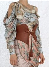 Zimmermann Corset Belt | Waist, Tie Close, Cognac Tan Tie Leather Wide $600 RP