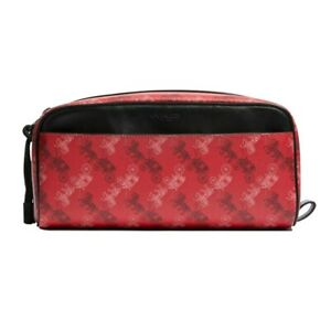 NWT COACH Dopp Kit Horse and Carriage Print Signature Travel Pouch Red F85038