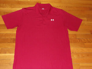 UNDER ARMOUR SHORT SLEEVE BURGUNDY POLO SHIRT MENS X-LARGE EXCELLENT CONDITION