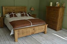 New Hand Crafted Rustic Chunky Capped Plank Bed  Double (4'6ft) Low Foot End