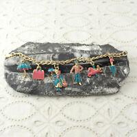 "VTG 1960s Disney Mary Poppins Pink Turquoise Enamel Charm 6"" Childs Bracelet"