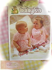 Vintage Knitting Pattern Baby Girls Lacy Dress 2 Sleeve Lengths. JUST £1.99!!
