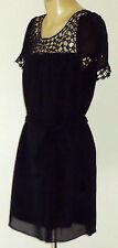 RICKI RENÉE BlackFauxSilkBeltedSilverBeadedLace Size10