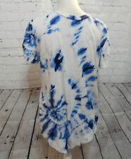Mens Blue & White Tye-dye short sleeve Hollister Curved Hem T-Shirt size M