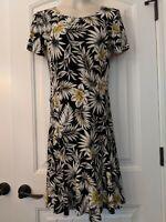 KAREN KANE NWT $98 Fresh Squeeze Black White Print Ruffle Stretch Dress Size S