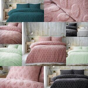 Super Soft Saona Mink Dot Embossed Teddy Bear Sherpa Wool Feel Duvet Cover Set