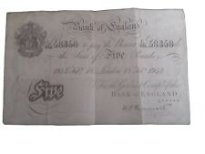 More details for peppiat five pound £5 white note. february 1943. good condition.