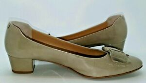 Russell & Bromley Patent Leather Beige Block Heel Bow Design Slip On Shoes A598