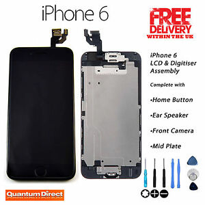 BLACK  iPhone 6 Retina LCD & Digitiser Touch Screen Complete Assembly w/Parts