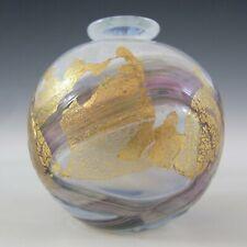 Isle of Wight / M Harris Golden Peacock White Glass Globe Vase