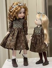 "2 Matching Boneka Batik Dresses 4 14.5"" Ruby Red Fashion Friend & 12 Sibley READ"