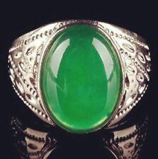 antique Elegant Tibet silver Carved dragon green Gemstone men's ring