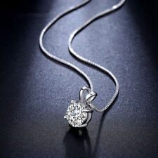 Vintage Elegant Women Charm White Gold Plated CZ Crystal Pendant Necklace