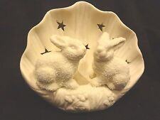 Porcelain Kissing Rabbits & Candle Holder Treasury of Gifts Collection~New n Box