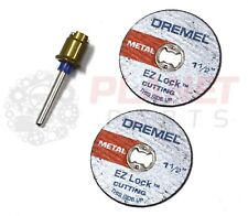 "EZ402 Dremel EZ Lock Mandrel & 2 EZ456B 1 1/2"" Metal Cutting Disc Cut-off Wheels"