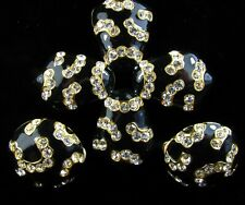 Vintage OSCAR DE LA RENTA Rhinestone Black Enamel Maltese Cross Pin Earrings Set