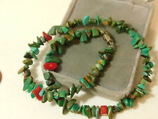 """Blue Turquoise Chip Bead Strand Red Coral 14"""" Choker Necklace 6f 31"""