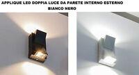 APPLIQUE LED DOPPIA LUCE ESTERNO INTERNO BIANCO NERO PARETE MURO 10W CASA BAR