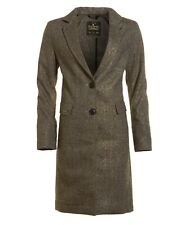 Superdry Race Carriage Coat Gold Tweed Womens Size Large Jacket
