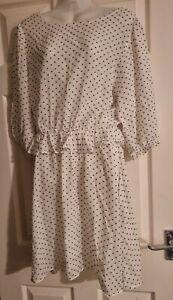 BNWOT M&S Limited Edition Ivory 3/4 Sleeve Spotty Dress Size 10