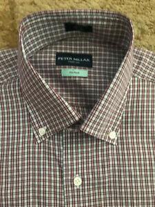 Peter Millar Collection Flex Finish Button Shirt Mens Medium Plaid NWT $228.00