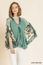 umgee women ruffle sleeve V neck waffle knit top S M L